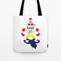 yeti Tote Bags featuring Yeti by Lucy Irving