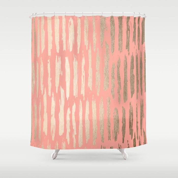Vertical Dash Tahitian Gold On Coral Pink Stripes Shower Curtain By Followmeinstead