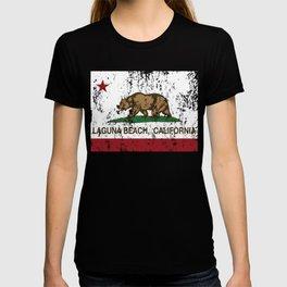 California Flag Laguna Beach distressed  T-shirt