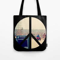 woodstock Tote Bags featuring Woodstock 69 by Silvio Ledbetter