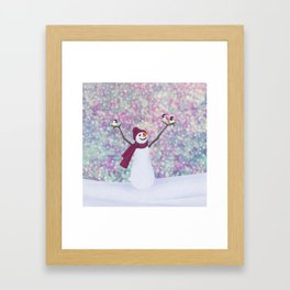 snowman and chickadees Framed Art Print