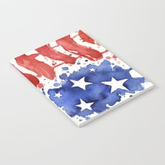 American Flag Watercolor Abstract Stars and Stripes Notebook
