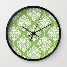 Green Damask Wall Clock