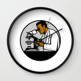 African American Research Scientist Mascot Wall Clock