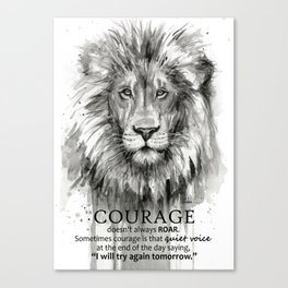 Lion Courage Motivational Quote Watercolor Painting Canvas Print