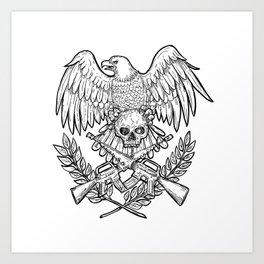 Eagle Skull Assault Rifle Drawing Art Print