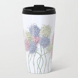 Pastel Cotton Ball Flower Scene Travel Mug