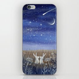 Hares and the Crescent Moon iPhone Skin