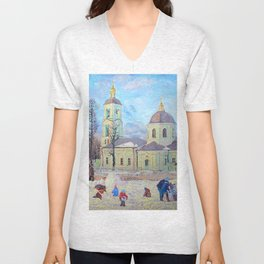 The Temple of the Mother of God's Icon of the Life-Giving Spring in Tsaritsyno Unisex V-Neck