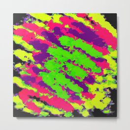 psychedelic splash painting abstract texture in yellow green pink purple black Metal Print