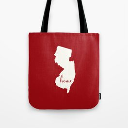 New Jersey is Home - White on Red Tote Bag