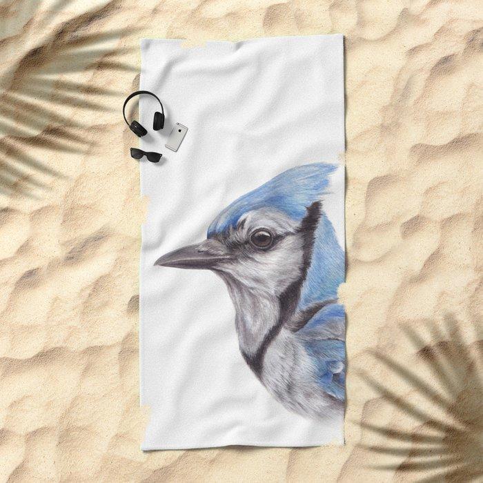 Blue Jay - CYANOCITTA CISTATA | Watercolour | Painting | Animal | Nature | Art Beach Towel