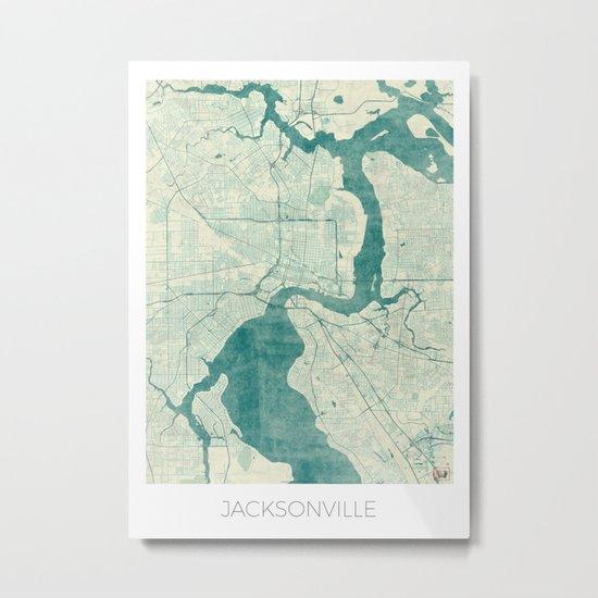 Jacksonville Map Blue Vintage Metal Print