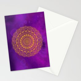 Gold Mandala and Purple Hearts Stationery Cards