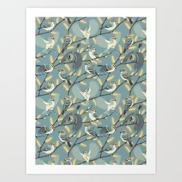 Golden-crowned Kinglets in a Pussy Willow (Dawn) Art Print