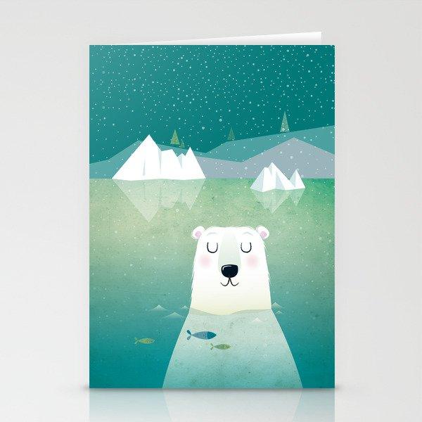Happy Polar Bear Stationery Cards by irenegoughprints | Society6