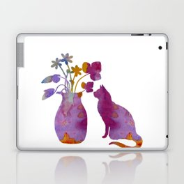 Cat and flowers Laptop & iPad Skin