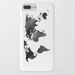Black watercolor world map iPhone Case