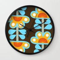 swedish Wall Clocks featuring swedish flowers by Wee Jock