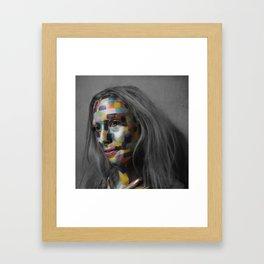 Girl of pixels Framed Art Print