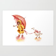 Rainy Day - Girl in a Yellow Rain Coat with Read Umbrella and with a Goose Art Print