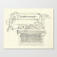 typewriter Canvas Prints featuring Typewriter by Hedera