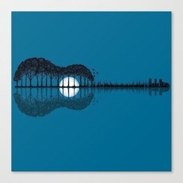 Trees sea and the moon turned guitar Canvas Print