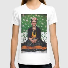 frida kahlo artist White SMALL Womens Fitted Tee