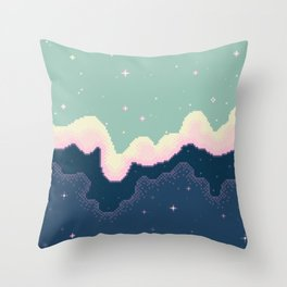 Pixel Day and Night Galaxy Throw Pillow