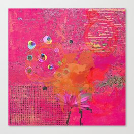 Hot Pink & Orange Abstract Art Collage Canvas Print