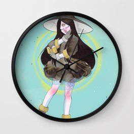 The witch with a spell book Wall Clock