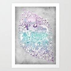 Glam fashion owls Art Print