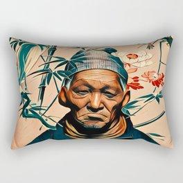 Crane bird & old man Rectangular Pillow