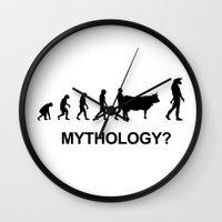mythology Wall Clocks featuring Minotaur mythology by Komrod