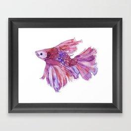 Fish watercolor fight Framed Art Print