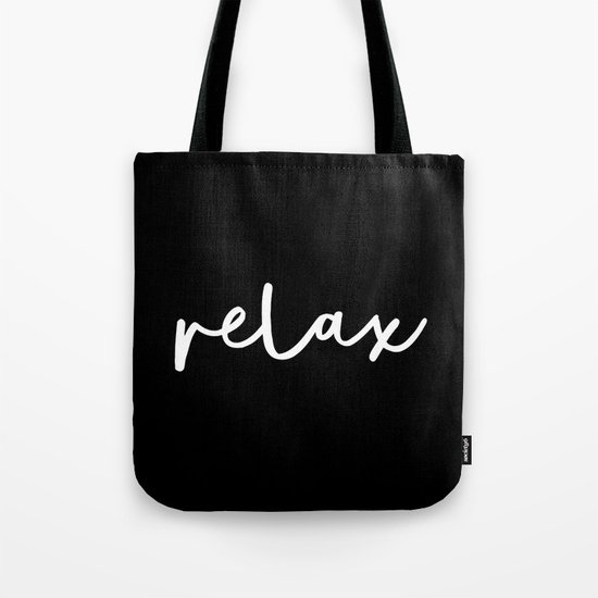 Relax black and white contemporary minimalism typography design home wall decor bedroom by themotivatedtype