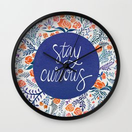 Stay Curious – Navy & Coral Wall Clock