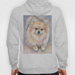 Pomeranian Watercolor Pom Puppy Dog Painting Hoody