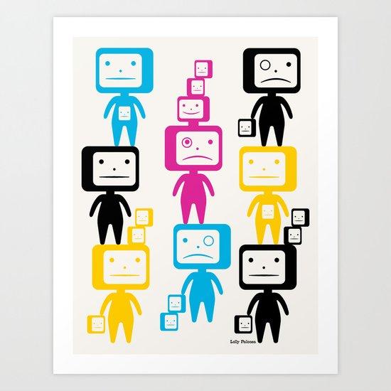 Four Colour Block Heads Art Print