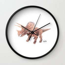 Orange Triceratops Wall Clock