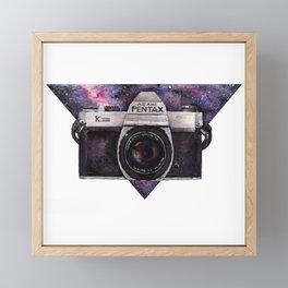 Pentax K1000 (Purple Nebula) Framed Mini Art Print