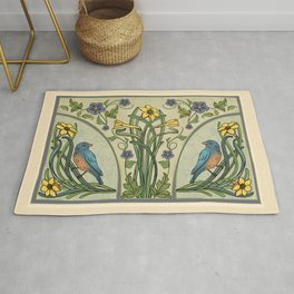 Bluebirds And Spring Blossoms Inspired By Art Nouveau Rug
