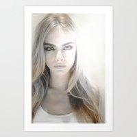 cara delevingne Art Prints featuring Cara Delevingne by Joe Bidmead