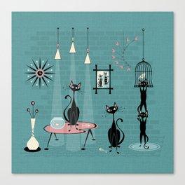 Mid Century Kitty Mischief - ©studioxtine Canvas Print