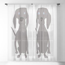 Weim I So Cute Grey Ghost Weimaraner Dog Hand-painted Drawing Sheer Curtain