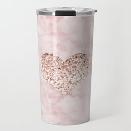 Rose gold - heart Travel Mug