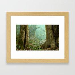Enchanted misty forest Framed Art Print