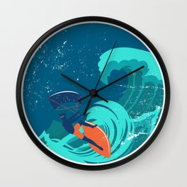 Kite Surfing Ocean Waves Wall Clock