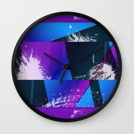 Purple and Cyan Abstract Glitch Collage Wall Clock