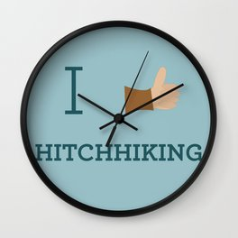 I heart Hitchhiking Wall Clock